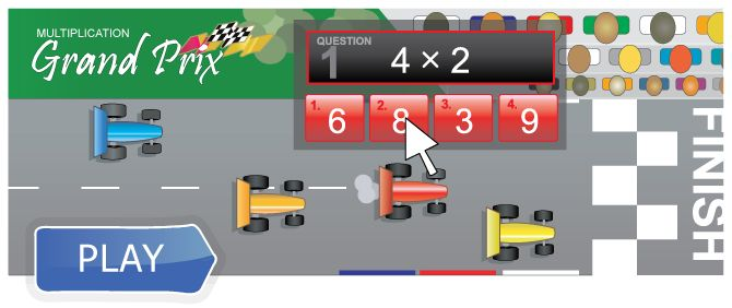Grand Prix Multiplication~  Fun online games that will keep kids engaged as they learn!
