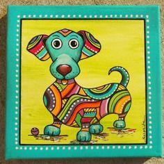 """Tableau coloré du petit chien """"knaki"""""""