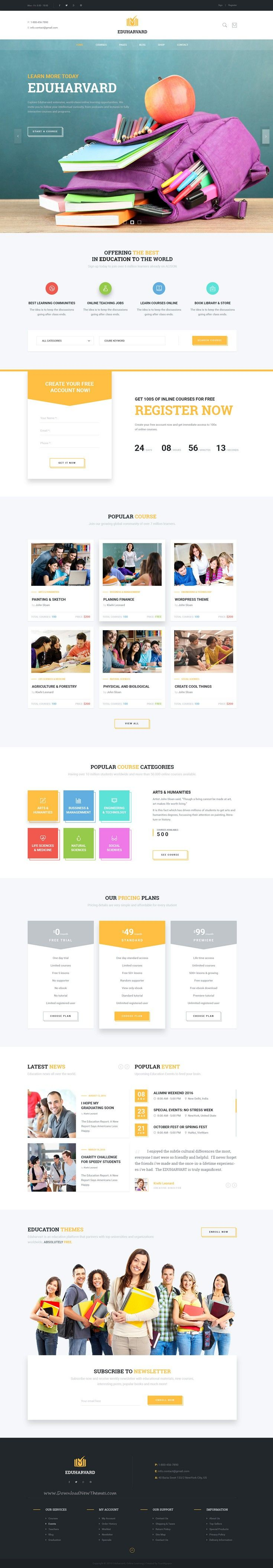 Eduharvard is a Modern, Creative, Responsive & Multipurpose PSD Template Design suitable for Educational #Institutions like Universities and #Colleges, Online Courses / Online Learning and Events. #webdesign