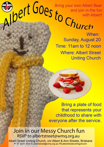 Albert bear visits Church often - why not come and join him?