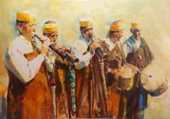 Rachid Hanbali's website will give you an overview of his work and the opportunity to purchase his original oil paintings