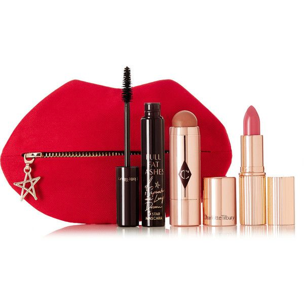 Charlotte Tilbury Festival Essentials Set found on Polyvore featuring beauty products, makeup, travel bag, travel toiletry case, travel kit, cosmetic bag and toiletry kits