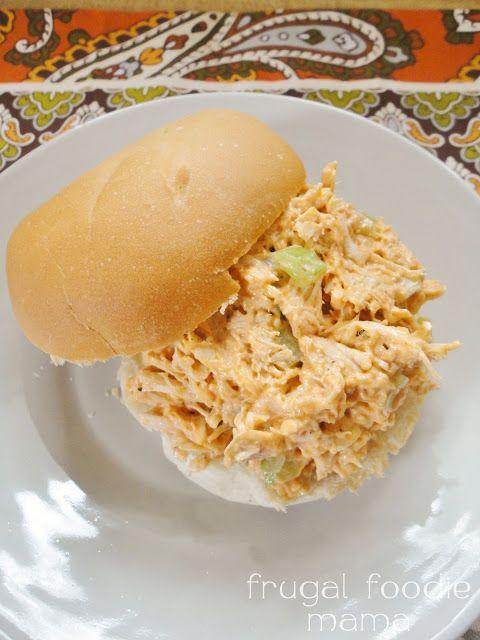 Ranch Buffalo Chicken Salad via thefrugalfoodiemama.com #buffalochicken #chickensalad #Ranchdressing