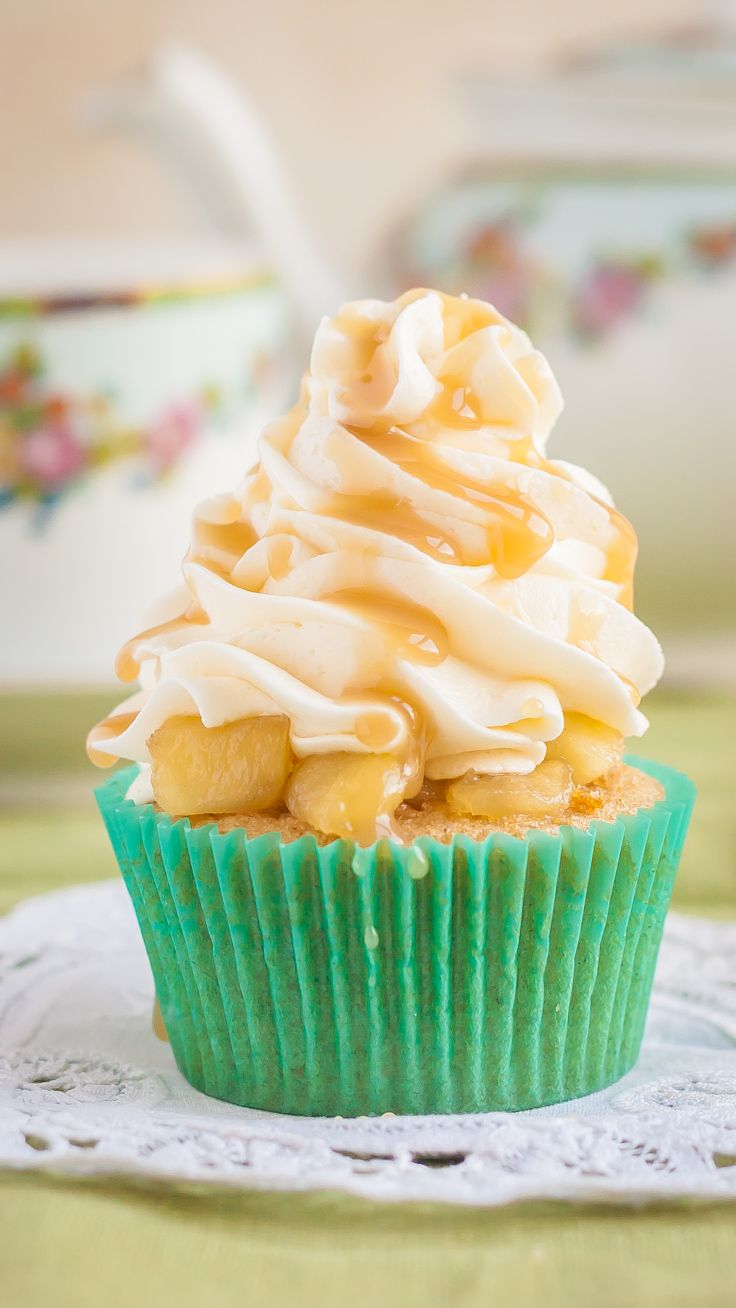 Delicious Gluten Free Apple Pie Cupcakes with Caramel Topping | Perfect Fall Comfort Food!