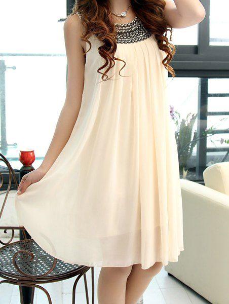 Beading Embellished Chiffon Stylish Scoop Neck Sleeveless Maternity Dress For Women