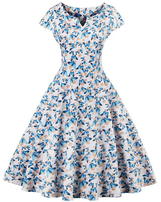 K268 Borboleta Retrô Vintage Swing Rockabilly Anos 50 Vestido Década De 1950 moda verão casual