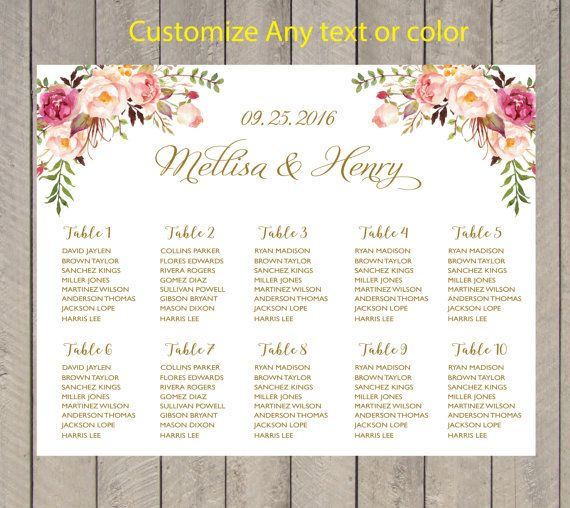 Printable Seating Chart For Wedding Reception: 9 Best Images About Seating Plan On Pinterest