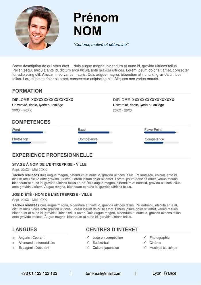 Exemple De Cv Pour Job Etudiant Gratuit A Telecharger En 2020