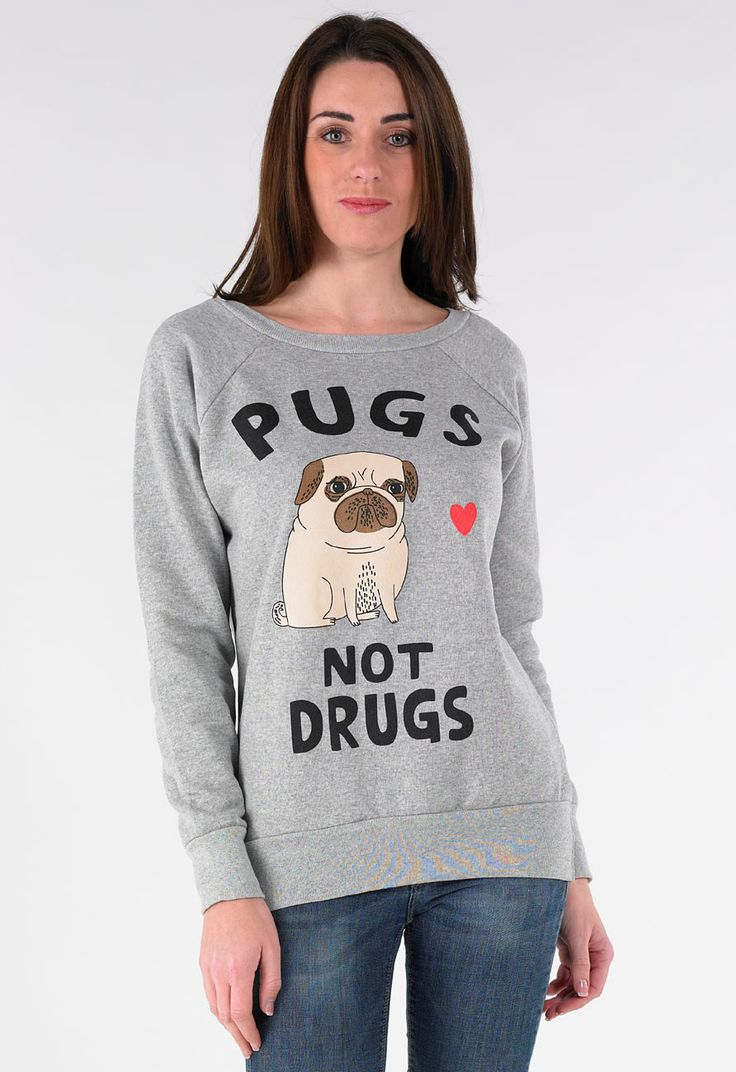 Pugs Not Drugs Sweatshirt in Grey - Womens Clothing Sale, Womens Fashion, Cheap Clothes Online | Miss Rebel