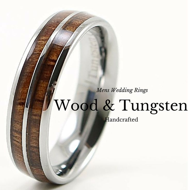 6mm tungsten wood wedding band for men or women. This handcrafted wood wedding band is made with 100% real koa wood wood.