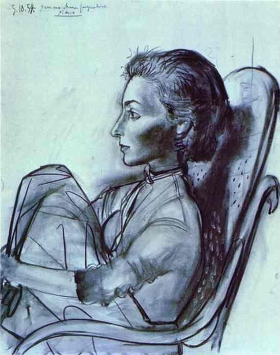 Picasso: Picasso Paintings, Woman Portrait, Picasso 1954, Oil On Canvas, Jacqueline Rocque, Artpablo Picasso, Jacqueline Roqu, Legs Drawn, 1954 Years