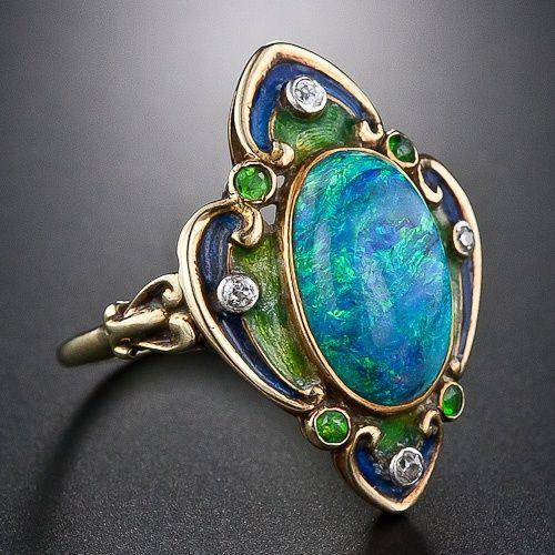 Opal, Diamond & Demantoid Garnet with Enamel set in gold - Lang Antiques