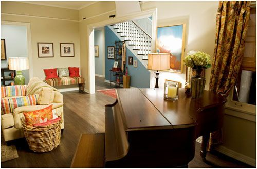 Love the Dunphy house! Labrador blue, white vanilla from Benjamin Moore on the walls.