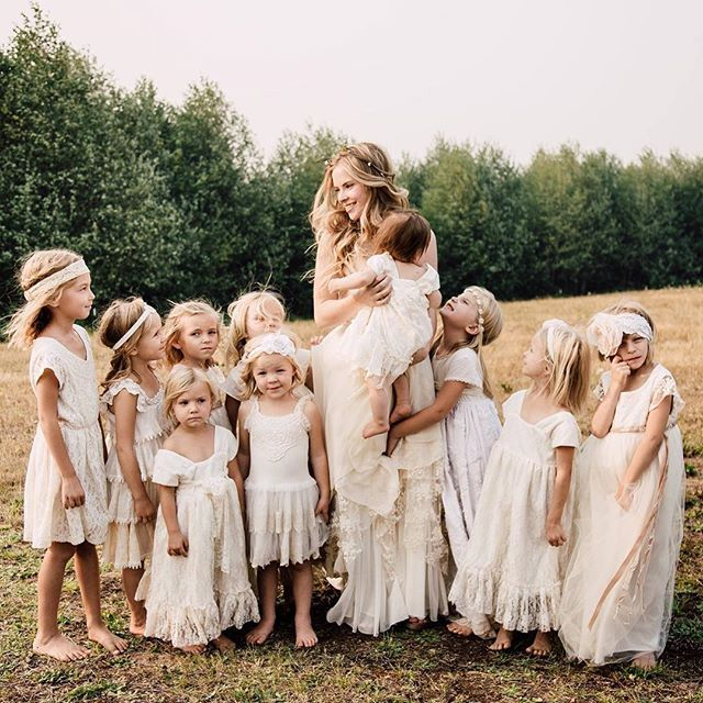 A gorgeous image by @irinaburchak with two of these sweet mismatched #flowergirls wearing #teaprincess freesia and seashell ombre designs #weddinginspiration