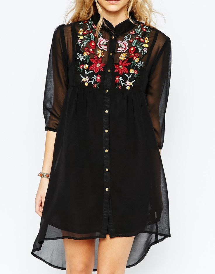 Image 3 of Boohoo Embroidered Shirt Dress