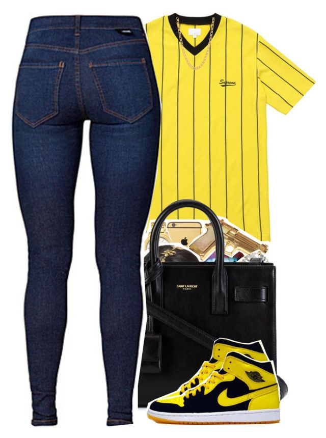 """4/17/2016"" by yeauxbriana ❤ liked on Polyvore featuring Yves Saint Laurent, Dr. Denim, NIKE and Gogo Philip"