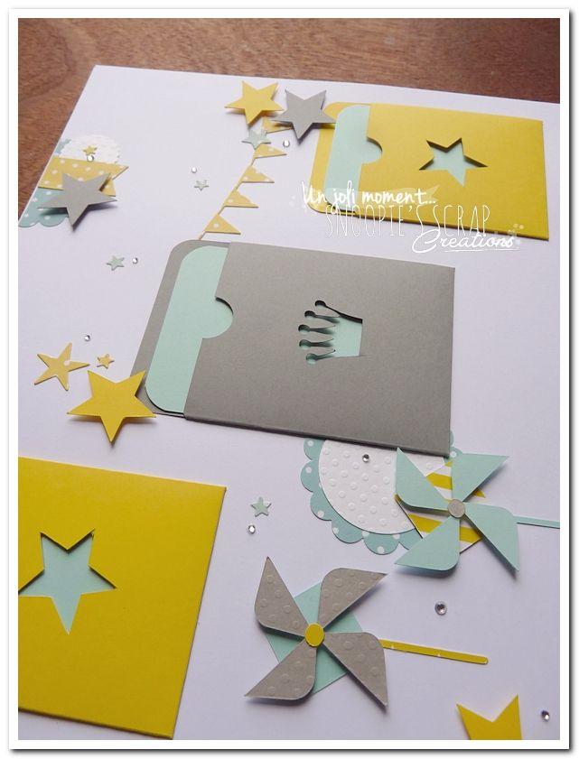 Bonsoir, et voici le livre d'or de Gabriel, pour son baptême. * Couleurs : vert d'eau/aqua – gris – jaune Fil conducteur: étoiles, moulins à vent, fanions, nuages, chevrons…