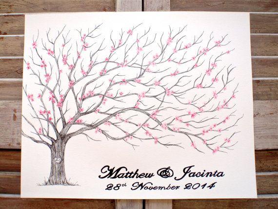 Large Fingerprint Cherry Blossom Tree Wedding Guest by theinkybean, $128.00
