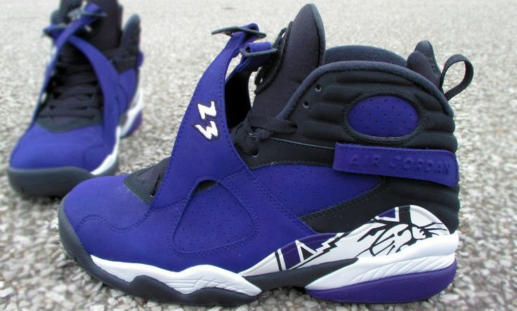 "jordan viii custom | Jordan VIII ""NU Wildcats"" Customs | Custom Sneakers | Pinterest"