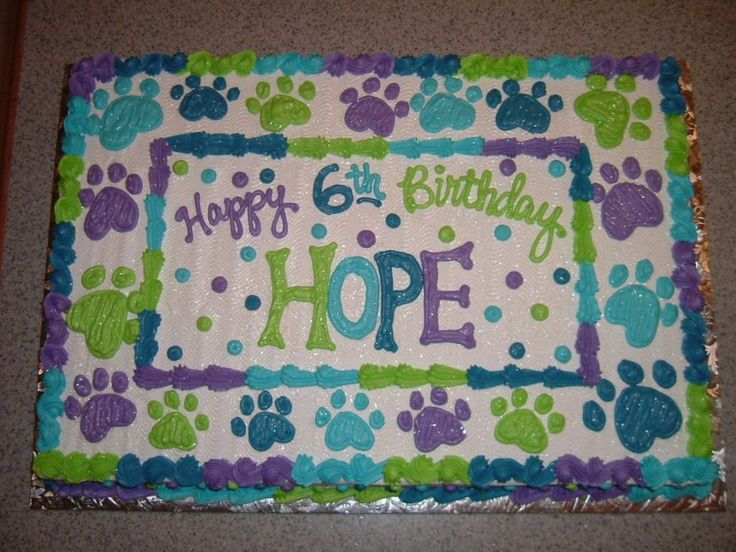 Puppy Cakes for Girls | Buttercream cake with pawprints ... the birthday girl had a dog/puppy ...
