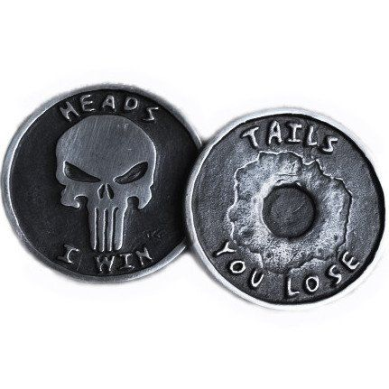 The Punisher Coin is cast in fine pewter by John Gage. The master was carved in wax, then molded. Each...