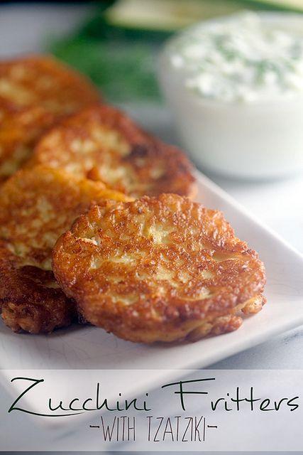 Zucchini Fritters with Tzatziki | Recipe | Tzatziki, Zucchini Fritters ...