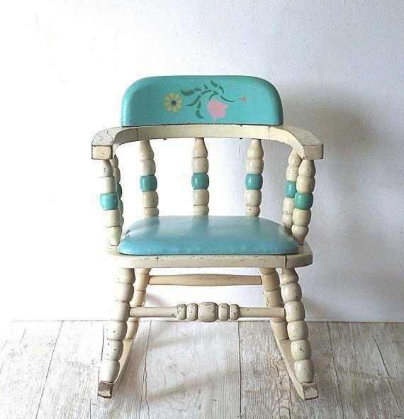 Vintage Mid Century Nursery Baby Rocking Chair Macys' by ivorybird, $68.00.  Darling!