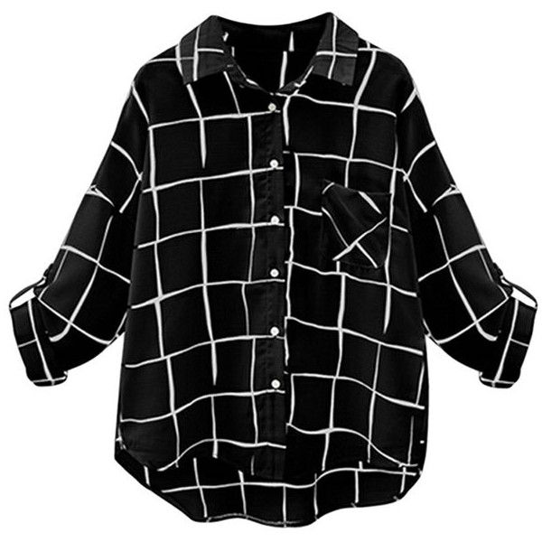 Womens Turndown Collar Plaid Single-breasted Long Sleeve Blouse Black ($24) ❤ liked on Polyvore featuring tops, black, long sleeve shirts, tartan top, collar top, lycra shirt and plaid shirts