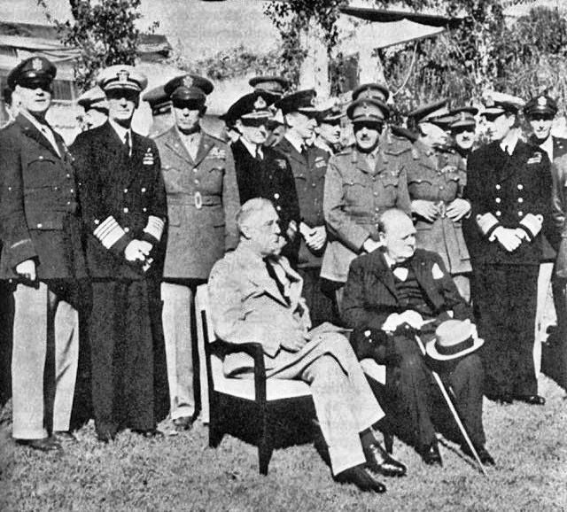 Seated at the Casablanca Conference; US President Franklin D. Roosevelt and British PM Winston Churchill January 1943