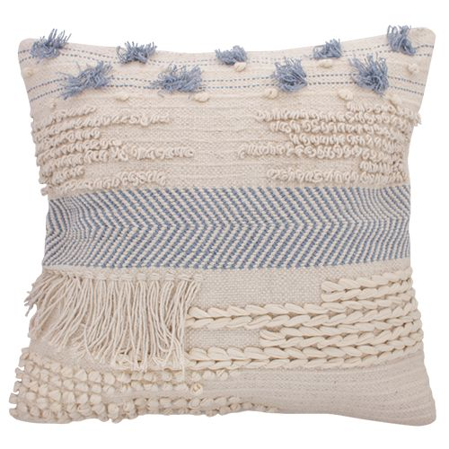 Cushion Cream and Blue Boho Chic
