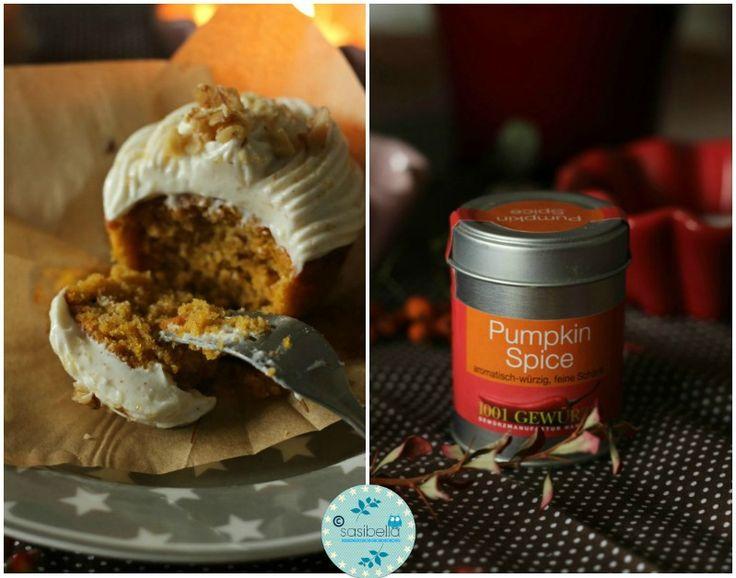 SASIBELLA: Kürbis-Gewürz-Cupcakes mit Zimt Frosting