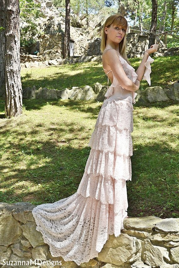 Blush Wedding Dress Pink Lace Bohemian Bridal Gown Handmade By Suzannam Designs Brautkleider Pinterest