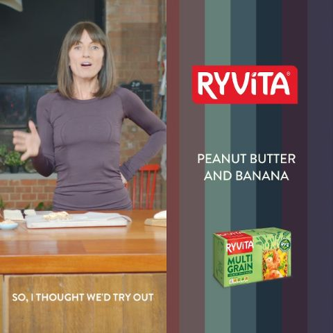 Looking for a tasty snack? Try Davina's Peanut Butter & Banana on Ryvita Crunchy Rye Bread.