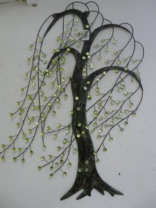 Beautiful. Willow. Tree.  Jeweled  leafs ...either large wall art  flat stones or small wall art w/small stones