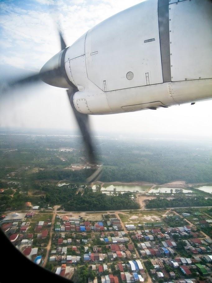 Plane landing in Luang Prabang, Laos