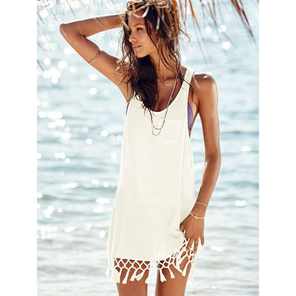 Victoria's Secret Low-armhole Cover-up ($20) ❤ liked on Polyvore featuring swimwear, cover-ups, white, white swim cover up, white cotton cover up, crochet cover-up, cotton beach cover up and white cover up swimwear
