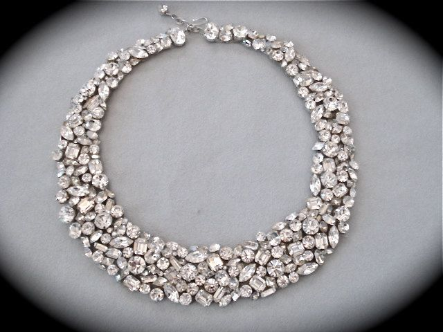 Swarovski Crystal Rhinestone Statement Necklace, Crystal wedding necklace. $235.00, via Etsy.