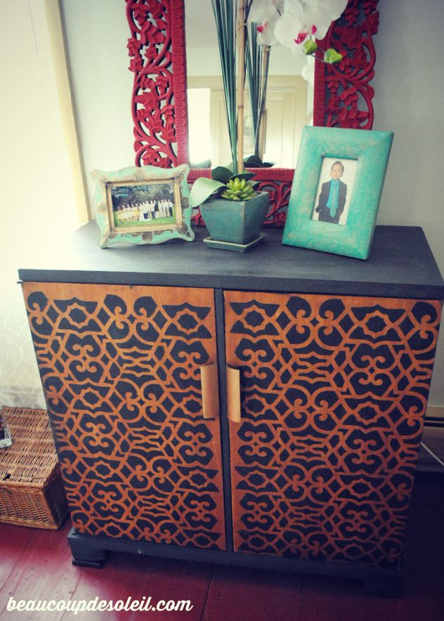 Our Chez Sheik Furniture Stencil is a beautiful Moroccan-inspired design that can transform basic furniture into exotic dressers, tables, and cabinets. It also comes in a large allover pattern stencil