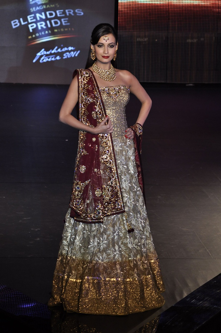 Dia Mirza in Vikram Phadnis. ADORE this outfit for a wedding