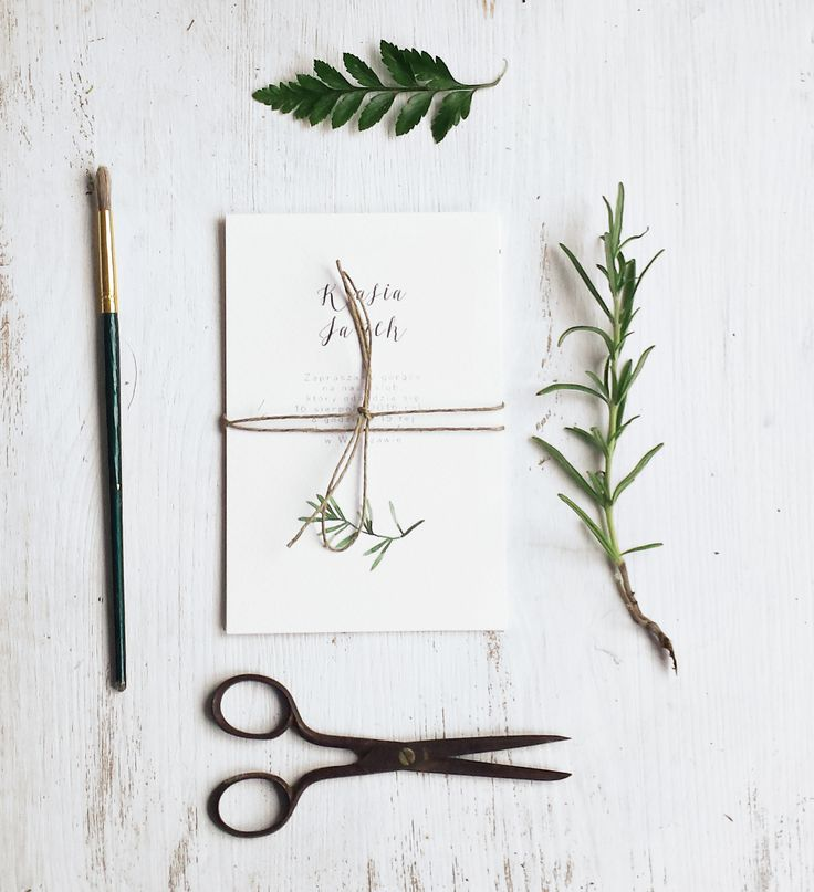 Wedding Botanical Invitation with rosemary from loveprints.pl