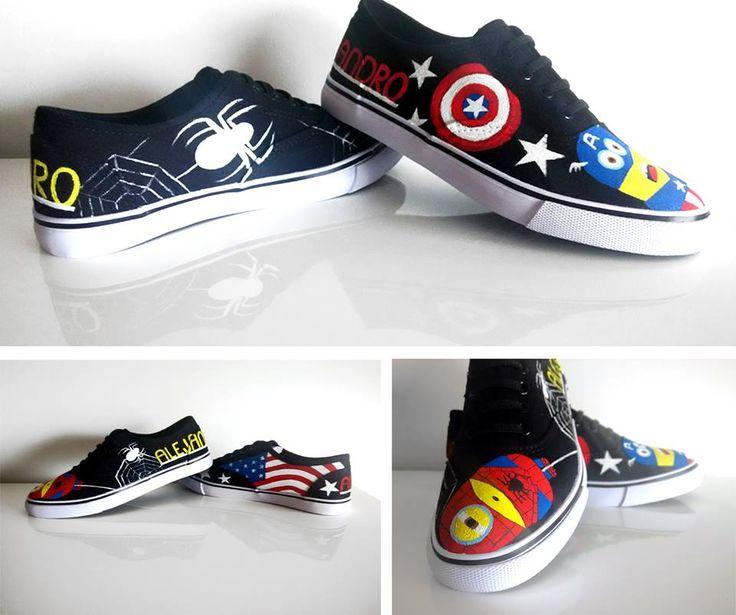 Están por todas partes, Los Minioms ya llevan un tiempo con nosotros y no tienen pinta de querer irse, nosotros encantados y con pintarlos en una zapas así de molonas. Hemos aprovechado a los Minioms Spiderman y Capitán América con un resultado tan divertido.