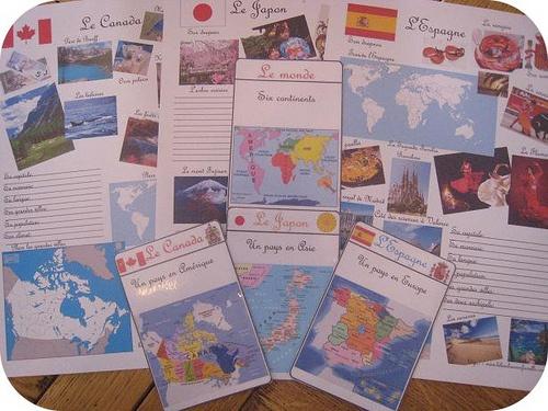 Cartes d'identité des pays: Canada, Japon, Espagne plus le monde et ses continents…