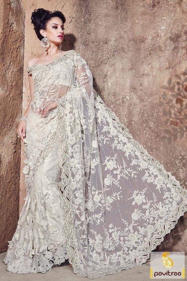 Fashionable Off White Net Wedding Designer Saree Online #saree, #designersaree more: http://www.pavitraa.in/catalogs/wedding-wear-designer-sarees-and-lehenga-sarees-online-shopping/?utm_source=rn&utm_medium=pinterestpost&utm_campaign=1jul