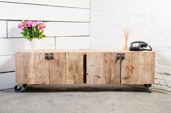 Totally Bespoke, Made to Order Long Low 4 Door Reclaimed Scaffolding Board Media Unit with Dark Steel Handles - Its salvaged vintage