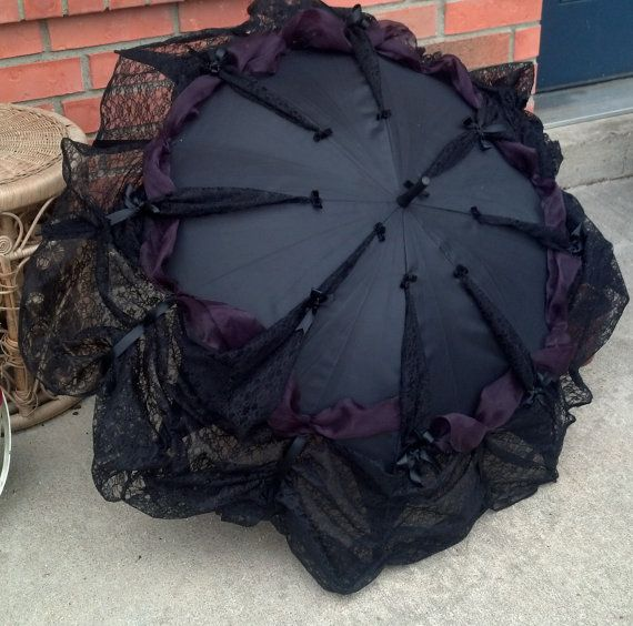 Goth Umbrella Neo Victorian Style Lace Trimmed Parasol Cosplay Elegant Gothic Lolita EGL Steampunk Clothing Gothic Funeral Visual Kei - Eva