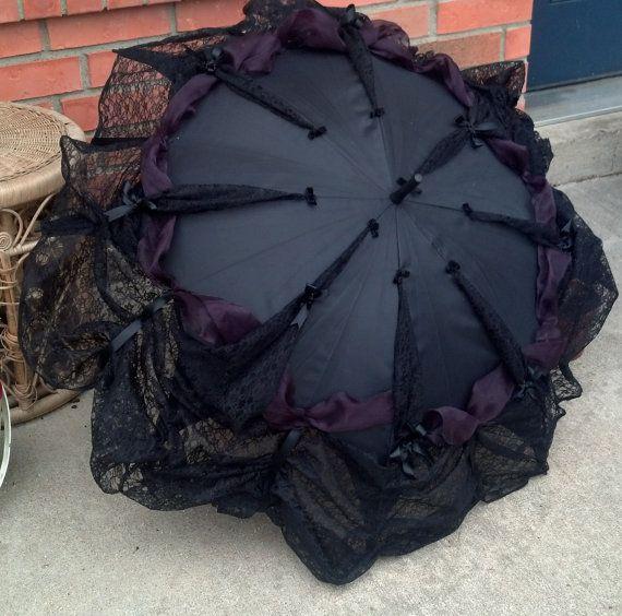 Goth Umbrella Neo Victorian Style Lace Trimmed Parasol Cosplay Elegant Gothic Lolita EGL Steampunk Clothing Gothic Funeral Visual Kei - Eva