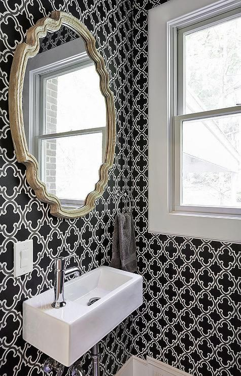 Powder Room With Black And White Moroccan Wallpaper