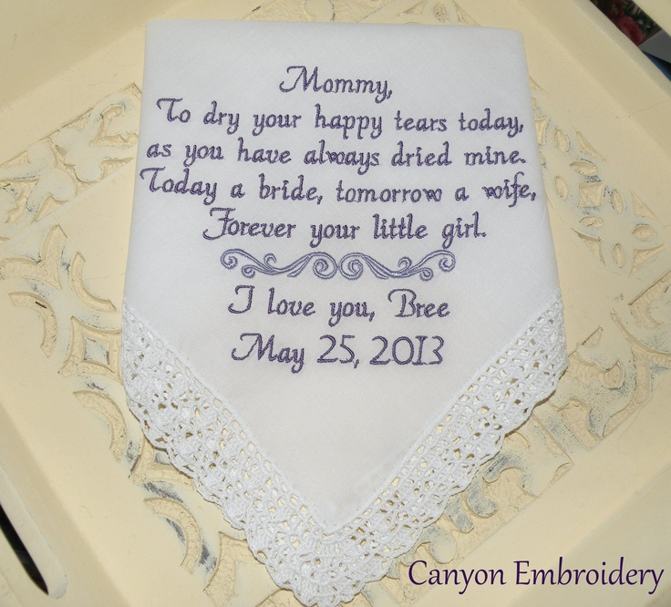 Mother Of The Bride To Dry Your Happy Tears Gift I Recd From