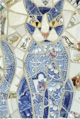 fractured drawing lessons   Blue Cat . . . Mosaic made of broken dishes and pottery.