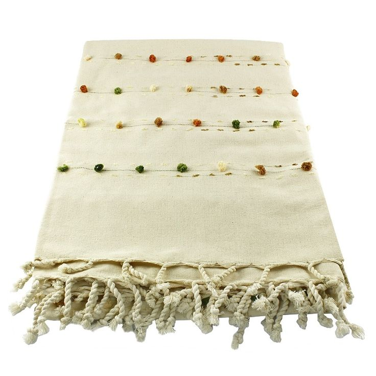 NATURAL HANDMADE TABLE CLOTH WITH POM POM